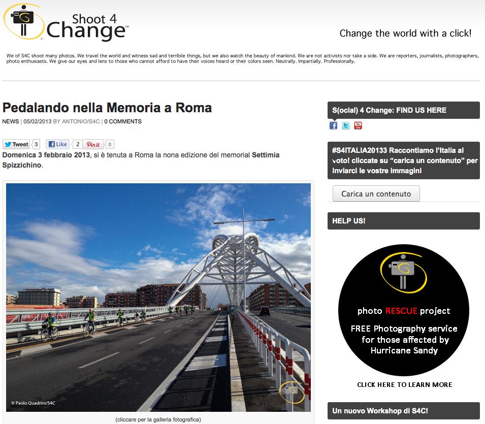 shoot4change.net - Pedalando nella Memoria a Roma - Memorial Settimia Spizzichino
